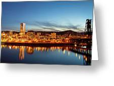 City Of Portland Skyline Blue Hour Panorama Greeting Card