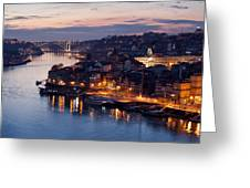 City Of Porto In Portugal At Dusk Greeting Card