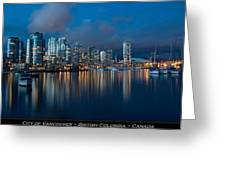 City Of Vancouver British Columbia Canada Greeting Card