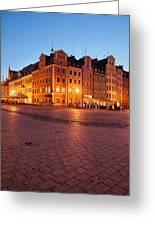 City Of Wroclaw Old Town Market Square At Night Greeting Card