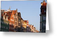 City Of Wroclaw Old Town Skyline At Sunset Greeting Card