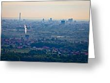 City Of Zagreb Panoramic Aerial View Greeting Card
