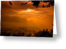 City On Fire Greeting Card