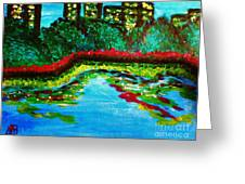 City Park At Night Greeting Card