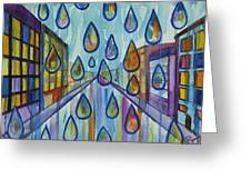 City Rain Greeting Card by Angelique Bowman