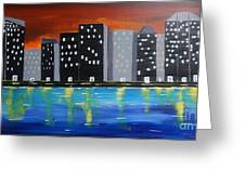 City Scape_night Life Greeting Card