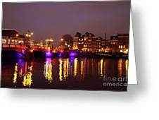 City Scenic From Amsterdam With The Blue Bridge In The Netherlands Greeting Card