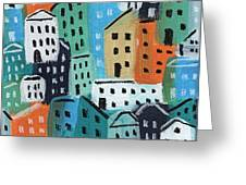 City Stories- Blue And Orange Greeting Card