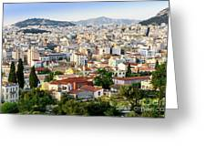 City View Of Old Buildings In Athens, Greece Greeting Card