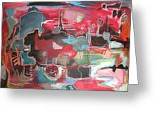 Citysacpe At Twilight  Original Abstract Colorful Landscape Painting For Sale Red Blue  Greeting Card