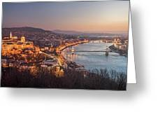 Cityscape Of Budapest, Hungary At Night And Day Greeting Card