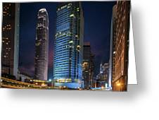 Cityscape Of Building In Hong Kong Greeting Card