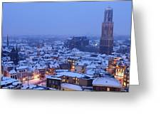 Cityscape Of Utrecht With The Dom Tower  In The Snow 13 Greeting Card