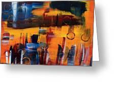 Cityscape On Orange Greeting Card