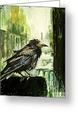 Cityscape With A Crow Greeting Card