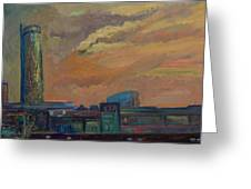 Cityscape With Tower Greeting Card
