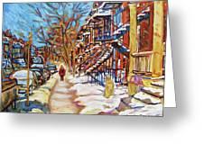 Cityscene In Winter Greeting Card