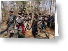 Civil War Soldiers March Through Woods Greeting Card