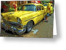 Classic 56 Chevy Car Yellow  Greeting Card