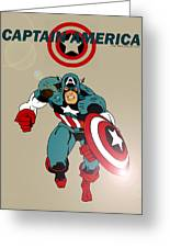 Classic Captain America Greeting Card by Mista Perez Cartoon Art