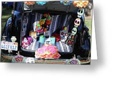 Classic Car Day Of Dead Decor Trunk Greeting Card