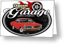 Classic Car Garage With Gto Greeting Card
