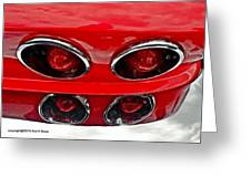 Classic Car Tail Lights Reflection Greeting Card