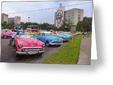 Classic Cars In Revolutionary Square Cuba Greeting Card