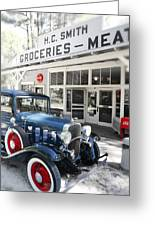 Classic Chevrolet Automobile Parked Outside The Store Greeting Card