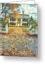 Classic Colonial Home In Autumn Pencil Greeting Card