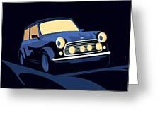 Classic Mini Cooper In Blue Greeting Card