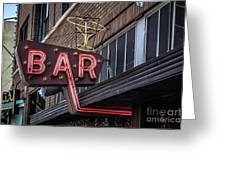 Classic Neon Sign For A Bar Livingston Montana Greeting Card