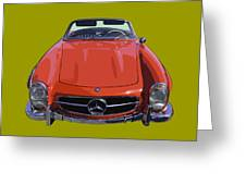Classic Red Mercedes Benz 300 Sl Convertible Sportscar  Greeting Card