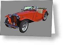Classic Red Mg Tc Convertible British Sports Car Greeting Card