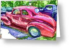 Classic Red Vintage Car Greeting Card