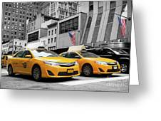 Classic Street View Of Yellow Cabs In New York City Greeting Card