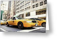 Classic Street View With Yellow Cabs In New York City Greeting Card