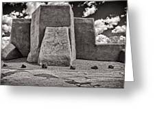 Classic View Of Ranchos Church In B-w Greeting Card