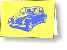 Classic Vw Beetle Tee Blue Ink Greeting Card