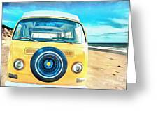 Classic Vw Camper On The Beach Greeting Card