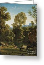Classical Landscape With Figures By A Lake Greeting Card