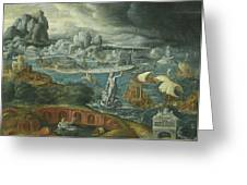 Classical Landscape With Ships Running Before A Storm Towards A Classical Harbour Probably Corinth Greeting Card