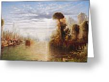 Classical River Landscape With Figures On The Steps Below A Temple Embarking Boats Greeting Card