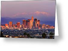 Classical View Of Los Angeles Downtown Greeting Card