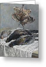 Claude Monet 1840 - 1926 Pheasant, Woodcock And Partridge Greeting Card