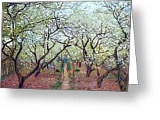 Claude Monet Orchard In Bloom Greeting Card