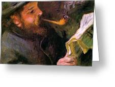 Claude Monet Reading 1872 Greeting Card