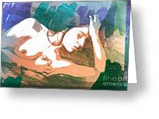 Claudia Nude Fine Art Painting Print In Sensual Sexy Color 4893. Greeting Card