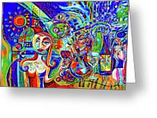 City At Night Music And Wine Abstract Greeting Card
