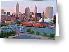 Cle Sunset View From The Shoreway Greeting Card
